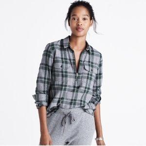 Madewell Half-Zip Plaid Shirt